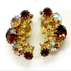 Juliana AB Rhinestone Topaz Earrings Vintage